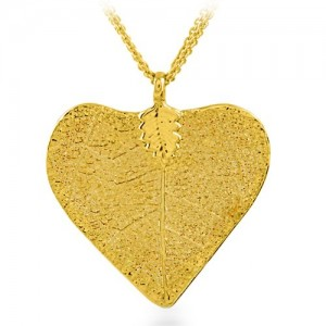 goldheartandleafnecklace